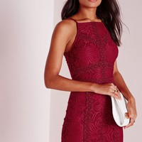 Missguided - Square Neck Lace Bodycon Dress Burgundy
