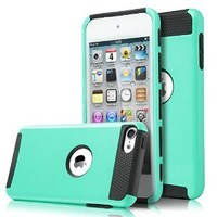 iPod Touch 6 case,iPod Touch 5 Case,ULAK [Colorful Series] Slim Fit Protective iPod Touch Case 2-Piece Style Hybrid Hard Case Cover for Apple iPod touch 5 6th Generation(Aqua Mint + Black)