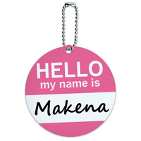 Makena Hello My Name Is Round ID Card Luggage Tag