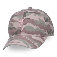Browning Needles AT Camo Buckmark Hat - Pink