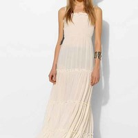 Pins And Needles Smocked-Bodice Tiered Maxi Dress- Ivory M