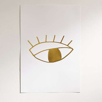 Cult Paper Limited Edition Gold Foil Eye Art Print - Urban Outfitters