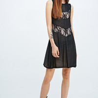 Pins & Needles Lace Insert Swing Dress in Black - Urban Outfitters