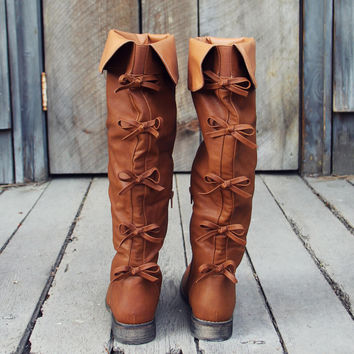 The Bow Back Boots in Cognac