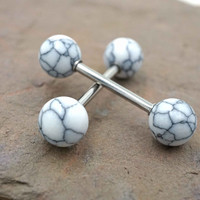White Turquoise Nipple Barbell