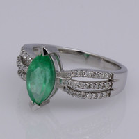 1.35 Carats Real Natural Colombian Emerald Engagement Ring with 18K Solid Gold and Real Diamond Ring - Free Shipping