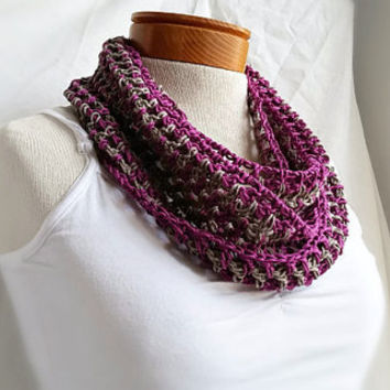 Spring cowl  scarf Crochet organic cotton and  mercerized Orchid plum purple dove grey long loop scarf