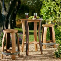 Barrel Stave Cafe Table and Stools - VivaTerra