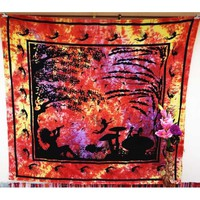 Angel Tree OF Life Red Meditation Wall Hanging Bedsheet Bedspread Tapestry