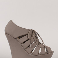 Bamboo Dreamer-24 Strappy Lace Up Peep Toe Wedge