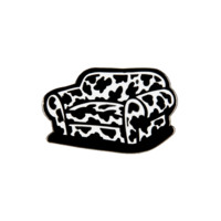Cow Chop Couch Enamel Pin