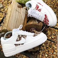 Dior x Nike Air Force 1 Print Sneakers Women Men Trending Shoes White+Red