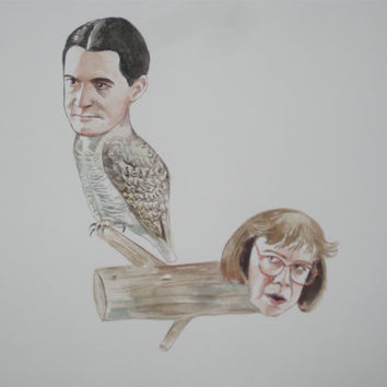 Agent dale cooper as an owl and log lady as a log