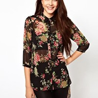 Vero Moda Floral Blouse With Hi Lo Hem at asos.com