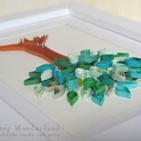 Green tree framed picture - paper quilling, home decor, nursery