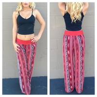 Red Aztec Chiffon Pants