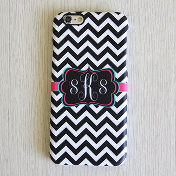 Black White Chevron Monogram iPhone 6 Case iPhone 6 plus Case Custom Initial iPhone 5C Case iPhone 5 Case Samsung Galaxy S6Edge S5 Case 060