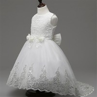 3-10y 2017 Design Flower Girls Dresses for Party Wedding Pageant Teenager Girl White Lace Tutu Princess Dress Girl Evening Dress