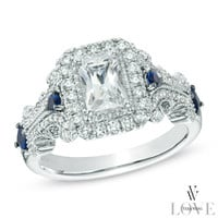 Vera Wang LOVE Collection 1-1/8 CT. T.W. Emerald-Cut Diamond and Blue Sapphire Scroll Ring in 14K White Gold