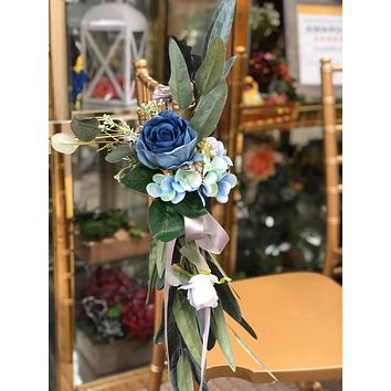 Aisle Maker Pew Chair Lantern Flower - Shades of blue teal light blue hydrangea rose silver dollar eucalyptus