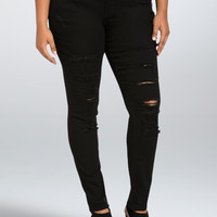 Torrid Skinny Jean - Black Rinse with Ripped Destruction (Tall)