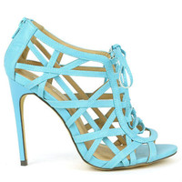 Common-17 Turquoise Strappy Peep toe Lace up Pump Stiletto Heels - Cutesy Originals