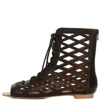 Black Qupid Cut-Out Lace-Up Gladiator Sandals