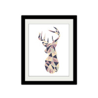 "Geometric Deer Poster. Modern and Trendy. Home Decor. Animal Poster. 8.5x11"" Print."