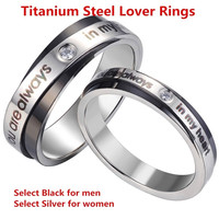 "Titanium Steel Couple Rings for Lovers   "" you are always in my heart """