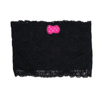 One Size Black Stretch Lace Bandeau Tube Top Strapless Bra with Pink Polka Dot Bow