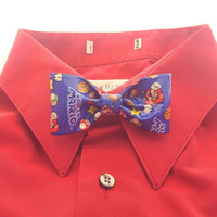 Cool Clip On Bow Tie for Kids, Toddlers, Mens, Handmade Boy's Super Mario Blue Bow Tie, Nerd Geek Gifts, Fun Stocking Stuffers for Kids