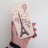 Paris Eiffel Tower Quote Mobile Cell Phone Case iPhone 3 3GS 4 4S 5 5S 5C Samsung Galaxy S2 S3 S4 Mini S5 Sony Xperia Z HTC