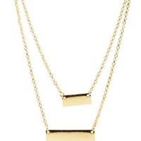 Gold Double Bar Layered Necklace by Charlotte Russe