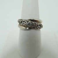 1980s Sterling Leaf Design Ring