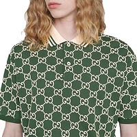 GUCCI Fashion Men Women Leisure Print Short Sleeve Lapel Shirt Top Blouse Green