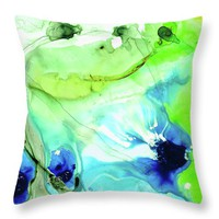 Blue And Green Abstract - Land And Sea - Sharon Cummings Throw Pillow