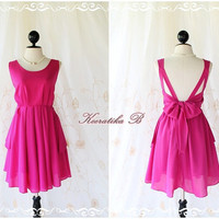 A Party V Shape - Fuchsia Magenta Hot Pink Color Wedding Prom Party Cocktail Bridesmaid Dinner Dancing Dress