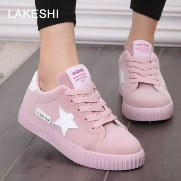 LAKESHI Women Shoes Fashion Women Casual Shoes Solid Canvas Shoes Female 2018 Comfortable Star Woman Sneakers