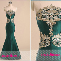 RE283 Totem Lace Evening dress floor length Dark Green wedding party dress Long Prom Gown Mikado Birthday Strapless Bridesmaid Dress