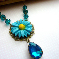 Teal Necklace teal blue Flower Necklace Victorian Vintage  Rhinestone Estate Style jewelry