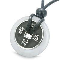 Amulet Lucky Coin Charm Donut in Snowflake Quartz Antiqued Pendant Necklace