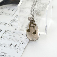 Simple Music Note Necklace with Smoky Quartz Gemstone Pendant