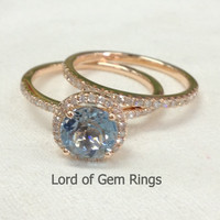 Round Aquamarine Engagement Ring Sets Pave Diamond Wedding 14K Rose Gold 7mm