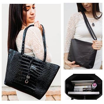 Black Croc Tote and Crossbody Bag Set