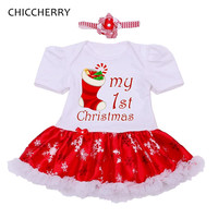 My 1st Christmas Costumes for Kids Lace Romper Dress Headband Newborn Tutu Sets Baby Girl Clothes Toddler Girl Christmas Outfits