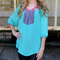 Chickadee Mint Cutout Tie Tunic Top
