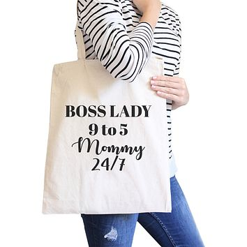 Boss Lady Mommy Natural Canvas Bag Humorous Gifts For Bossy Moms