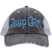 Jeep Girl Embroidered Trucker Style Cap Hat Grey (Turquoise)