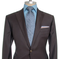 Belvest Chocolate with Blue Check Suit