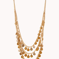 FOREVER 21 Traveler Layered Coin Necklace Antic Gold One
